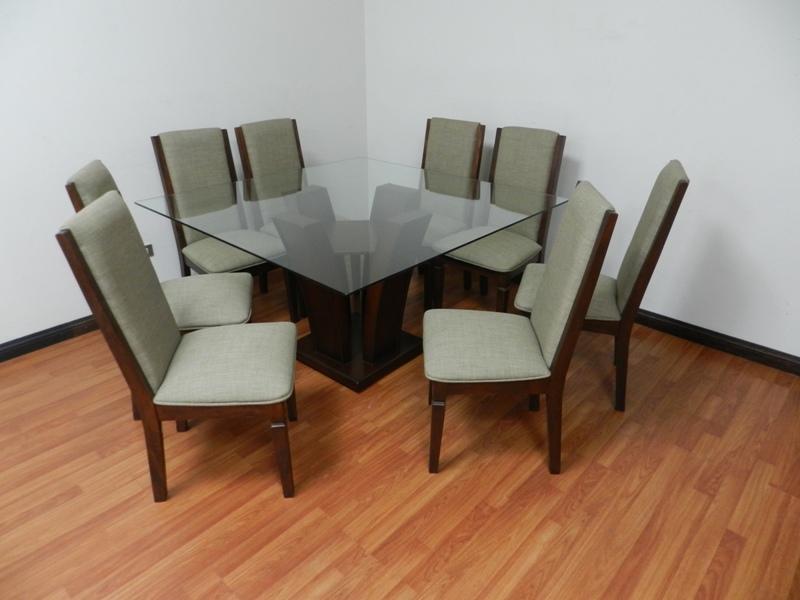 Comedores modernos de 8 sillas de vidrio for Antecomedores modernos pequea os